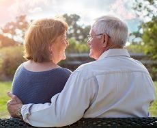 Mature senior couple living with alzheimer's