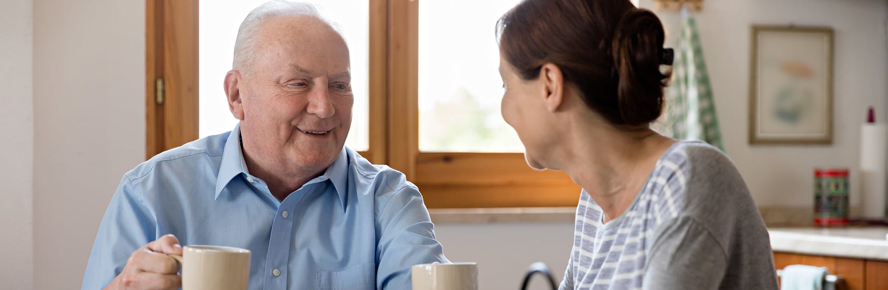 Senior client with home health aide