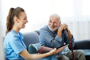 nurse doctor senior care brochure showing caregiver help assistence retirement home nursing elderly man